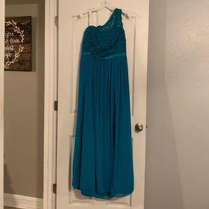 David's Bridal One Shoulder Lace & Mesh Dress